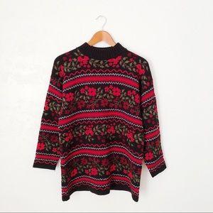 Vintage Floral & Stripe Sweater
